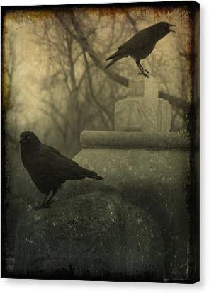 Cawing At The Gravyard Canvas Print by Gothicolors Donna Snyder