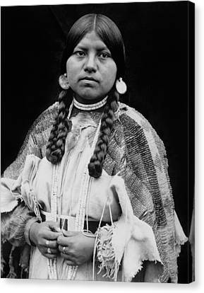 Cayuse Woman Circa 1910 Canvas Print by Aged Pixel