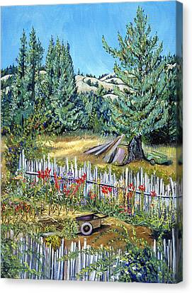 Cazadero Farm And Flowers Canvas Print by Asha Carolyn Young