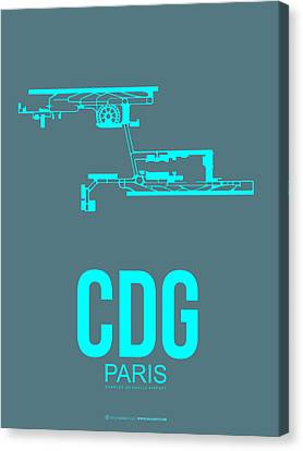 Cdg Paris Airport Poster 1 Canvas Print by Naxart Studio