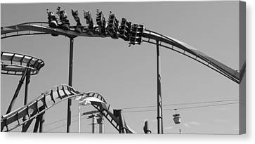 Cedar Point Roller Coaster Black And White Canvas Print by Dan Sproul