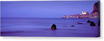 Cefalu At Dusk, Sicily, Italy Canvas Print by Panoramic Images