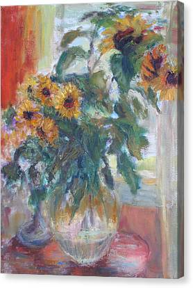 Sunflowers In Window Light - Original Impressionist - Large Oil Painting Canvas Print by Quin Sweetman