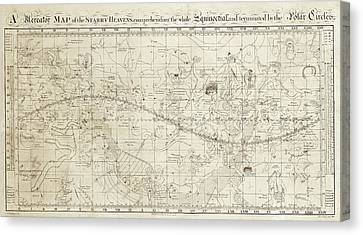 Celestial Map Of The Heavens Canvas Print by Library Of Congress, Geography And Map Division