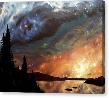 Celestial Northwest Canvas Print by Lucy West