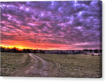 Celestial Winter Sunset And The Way Home Canvas Print by Reid Callaway
