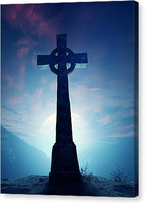 Celtic Cross With Moon Canvas Print by Johan Swanepoel