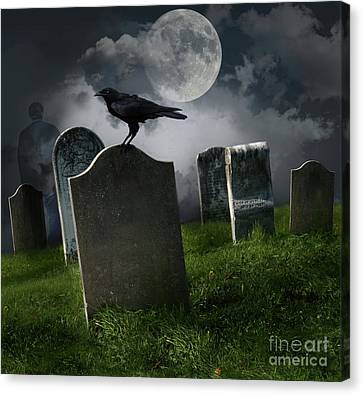 Cemetery With Old Gravestones And Moon Canvas Print by Sandra Cunningham