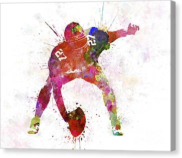 Center American Football Player Man Canvas Print by Pablo Romero