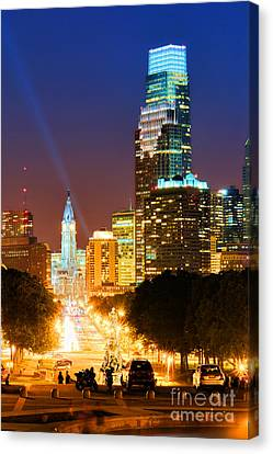 Center City Philadelphia Night Canvas Print by Olivier Le Queinec