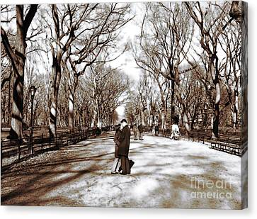 Central Park Kiss Canvas Print by John Rizzuto