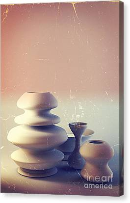 Ceramic Pottery Still Life I - Blue And Orange Sunset Canvas Print by Beverly Claire Kaiya