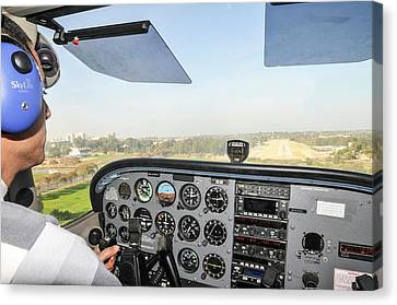 Cessna Skyhawk At Takeoff Canvas Print by Photostock-israel