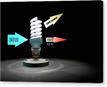 Cfl Light Bulb Efficiency Canvas Print by Animate4.com/science Photo Libary