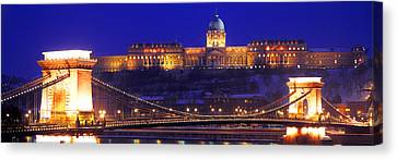 Chain Bridge, Royal Palace, Budapest Canvas Print by Panoramic Images