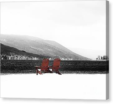 Chairs At Canandaigua Lake 2011 Canvas Print by Joseph Duba