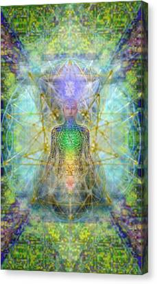 Chakra Tree Anatomy With Mercaba In Chalice Garden Canvas Print by Christopher Pringer