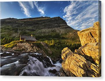 Chalet At The Falls Canvas Print by Mark Kiver