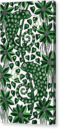 Chameleons Tall, 2013 Woodcut Canvas Print by Nat Morley