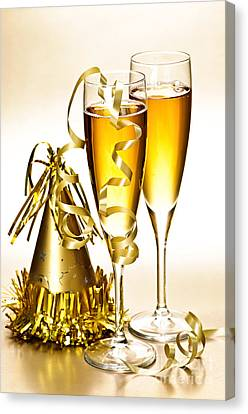 Champagne And New Years Party Decorations Canvas Print by Elena Elisseeva