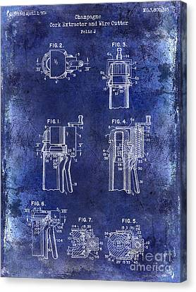 Champagne  Cork Extractor And Wire Cutter Patent Drawing Blue Canvas Print by Jon Neidert