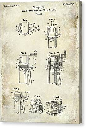 Champagne  Cork Extractor And Wire Cutter Patent Drawing Canvas Print by Jon Neidert