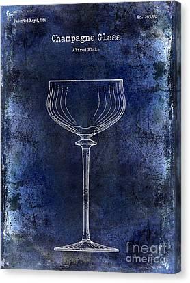Champagne Glass Patent Drawing Blue 2 Canvas Print by Jon Neidert