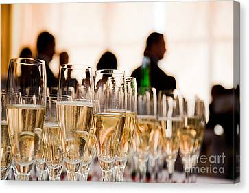Champagne Glasses At The Party Canvas Print by Michal Bednarek