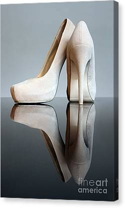 Champagne Stiletto Shoes Canvas Print by Terri Waters