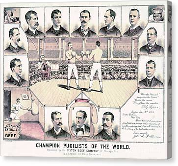 Champion Pugilists 1885 Canvas Print by Padre Art