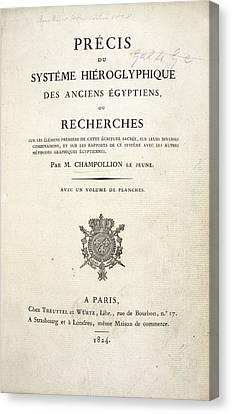 Champollion Book On Hieroglyphics Canvas Print by British Library