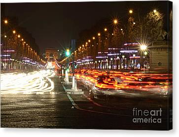Champs-elysees And Arc De Triomphe Canvas Print by Sami Sarkis