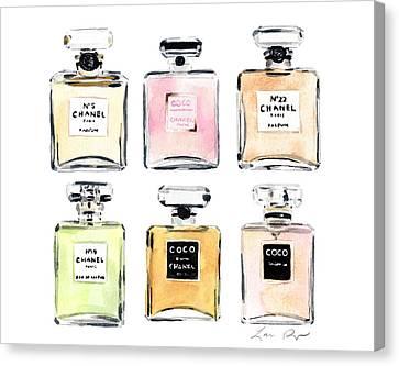 Chanel Perfumes Canvas Print by Laura Row Studio