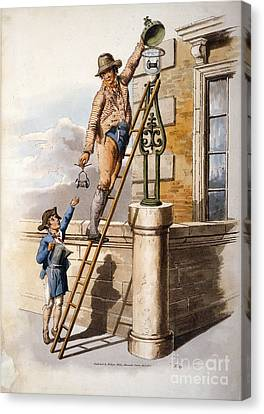Changing Street Lamp Burner, 1805 Canvas Print by British Library