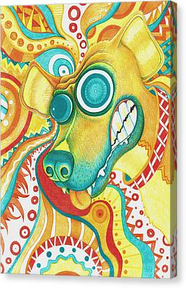 Chaotic Canine Canvas Print by Shawna Rowe