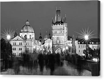 Charels Bridge At Night - Prague Canvas Print by Barry O Carroll