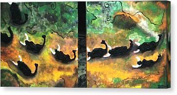 Charging Bulls Canvas Print by Vickie Meza