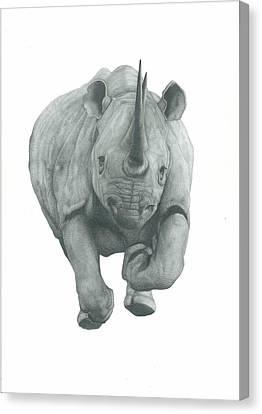 Charging Rhino Canvas Print by Rich Colvin