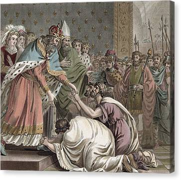 Charlemagne Receives The Ambassadors Canvas Print by Jean Claude Naigeon