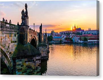 Charles Bridge And St. Vitus Cathedral In Prague Canvas Print by Jim Hughes