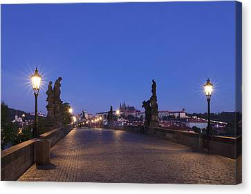 Charles Bridge At Dusk With Castle Canvas Print by Panoramic Images