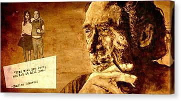 Charles Bukowski - The Love Version Canvas Print by Richard Tito