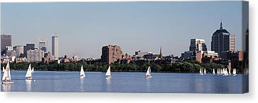 Charles River Skyline Boston Ma Canvas Print by Panoramic Images