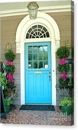 Charleston Aqua Teal French Quarter Doors - Charleston Aqua Blue Teal Garden Door Canvas Print by Kathy Fornal