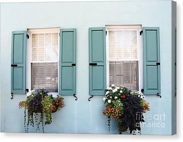 Charleston Aqua Teal French Quarter Rainbow Row Flower Window Boxes Canvas Print by Kathy Fornal