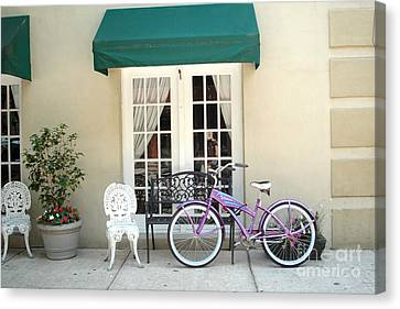 Charleston Windows And Bicycle Street Scene - Charleston French Quarter Architecture And Bicycle Canvas Print by Kathy Fornal