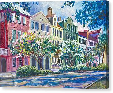 Charleston's Rainbow Row Canvas Print by Alice Grimsley
