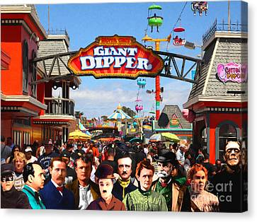 Charlie And Friends Cannot Decide Between The Giant Dipper The Sky Gliders Or The Side Shows V2 Canvas Print by Wingsdomain Art and Photography