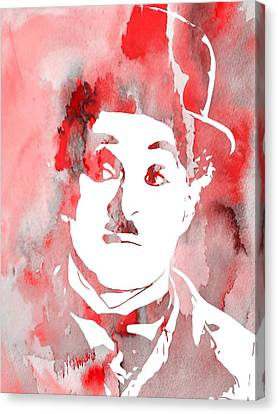 Charlie Chaplin Red Canvas Print by Dan Sproul