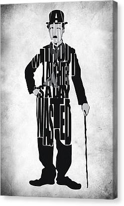 Charlie Chaplin Typography Poster Canvas Print by Ayse Deniz